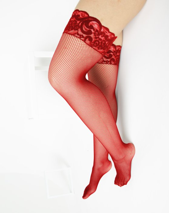 Red Womens Over The Knee Fishnets Style# 1485 | We Love Colors
