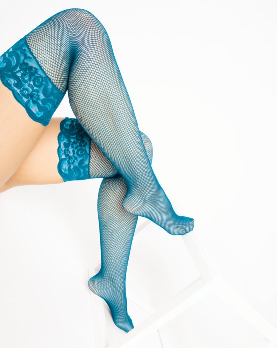 Turquoise Over The Knee Fishnets Style# 1485 | We Love Colors