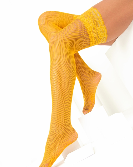 Gold Lace Top Fishnet Thigh Highs Style# 1487 | We Love Colors