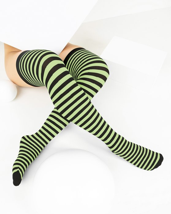 Mint Green Black Striped Thigh Highs Style# 1503 | We Love Colors