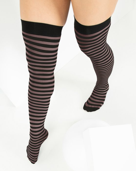 Mocha Black Striped Thigh Highs Style# 1503 | We Love Colors
