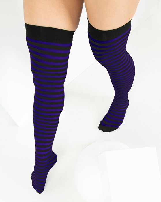Purple Black Striped Thigh Highs Style# 1503 | We Love Colors