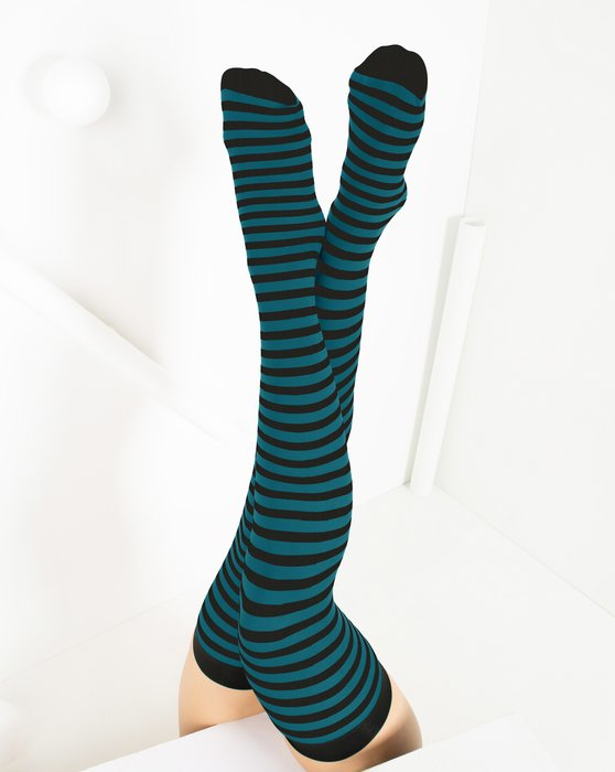 Teal Black Striped Thigh Highs Style# 1503 | We Love Colors