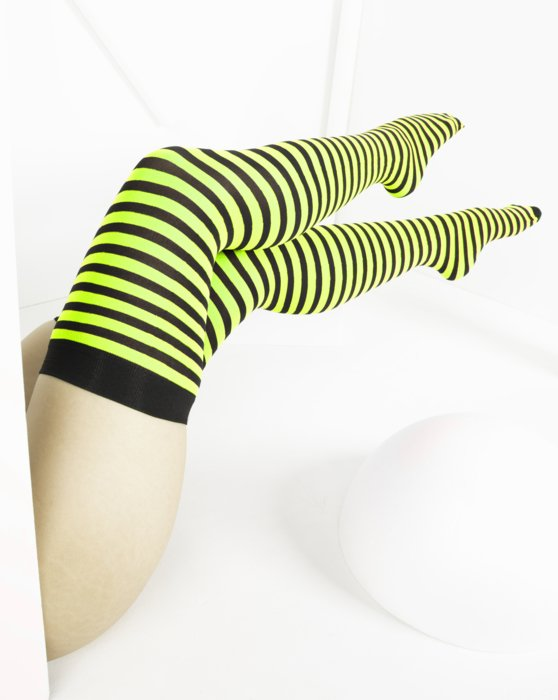 Neon-Yellow Womens Black Striped Thigh Highs Style# 1503 | We Love Colors