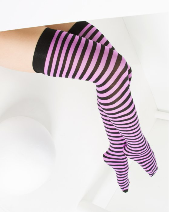 Orchid Pink Black Striped Thigh Highs Style# 1503 | We Love Colors