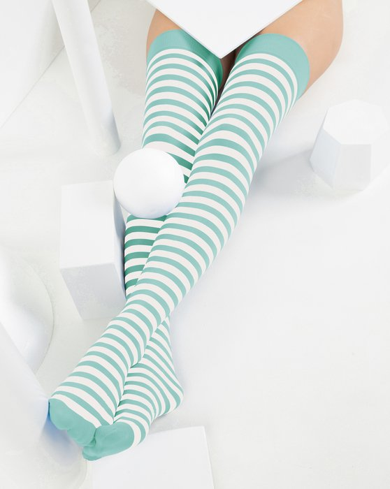 Dusty-Green Womens White Striped Thigh Highs Style# 1505 | We Love Colors