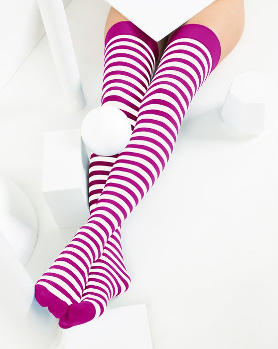 Fuchsia White Striped Thigh Highs Style# 1505 | We Love Colors