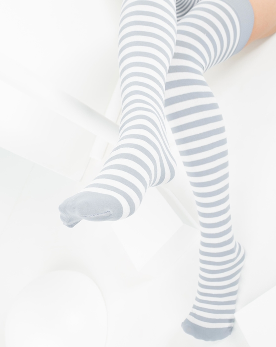 Light Grey Womens White Striped Thigh Highs Style# 1505 | We Love Colors