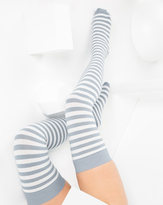 Grey White Striped Thigh Highs Style# 1505 | We Love Colors