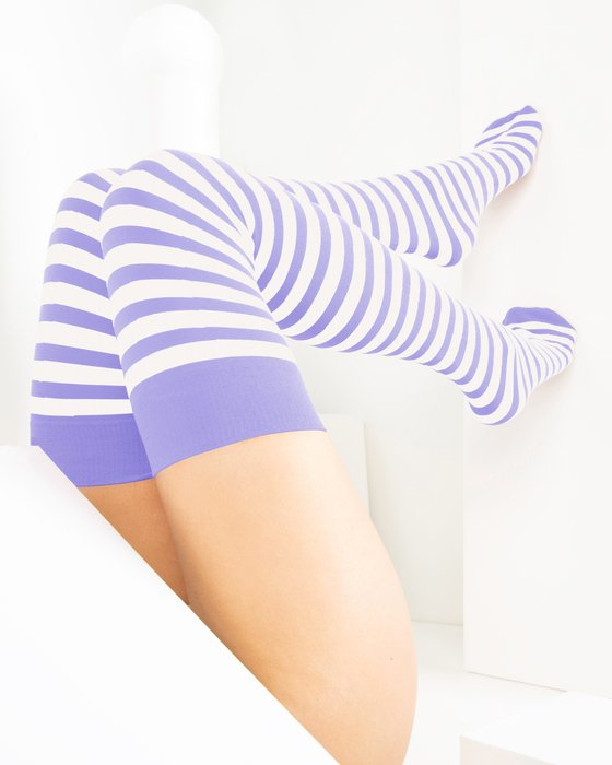Lilac White Striped Thigh Highs Style# 1505 | We Love Colors