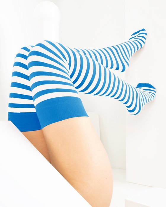 Medium Blue White Striped Thigh Highs Style# 1505 | We Love Colors
