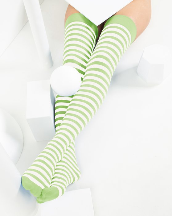 Mint Green Womens White Striped Thigh Highs Style# 1505 | We Love Colors