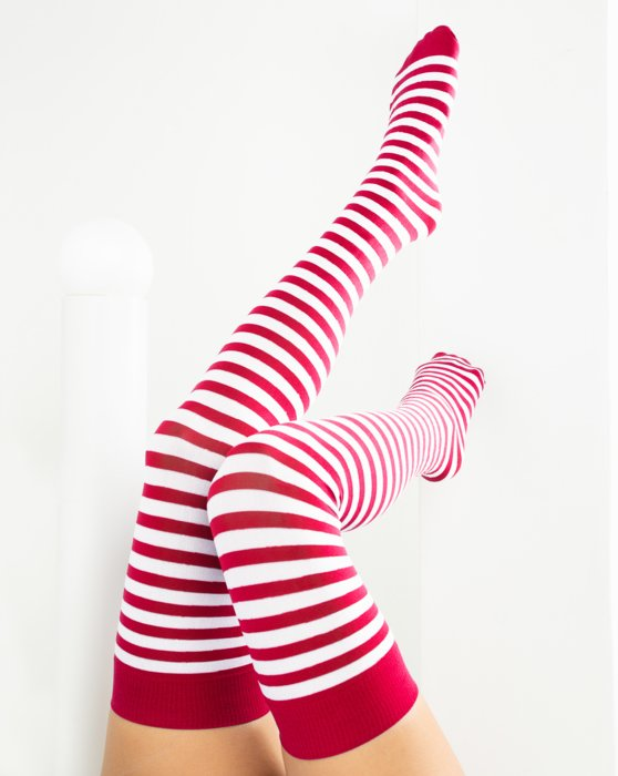 Red White Striped Thigh Highs Style# 1505 | We Love Colors