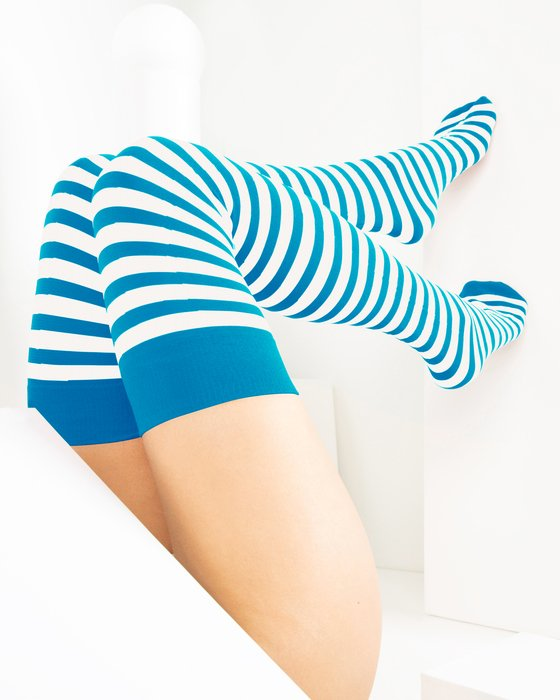 Turquoise White Striped Thigh Highs Style# 1505 | We Love Colors