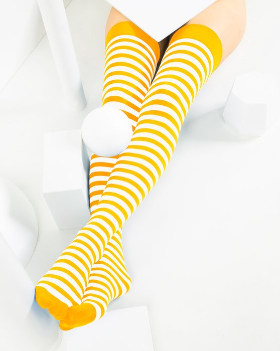 Gold White Striped Thigh Highs Style# 1505 | We Love Colors