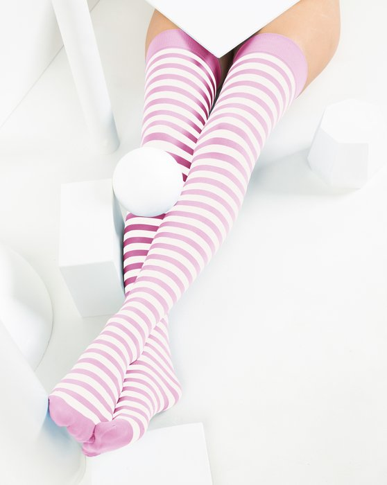 Light-Pink Womens White Striped Thigh Highs Style# 1505 | We Love Colors