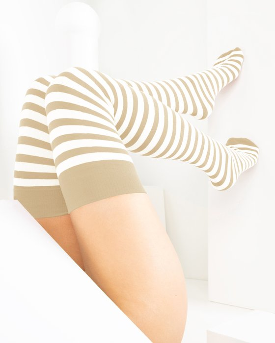 Light-Tan Womens White Striped Thigh Highs Style# 1505 | We Love Colors