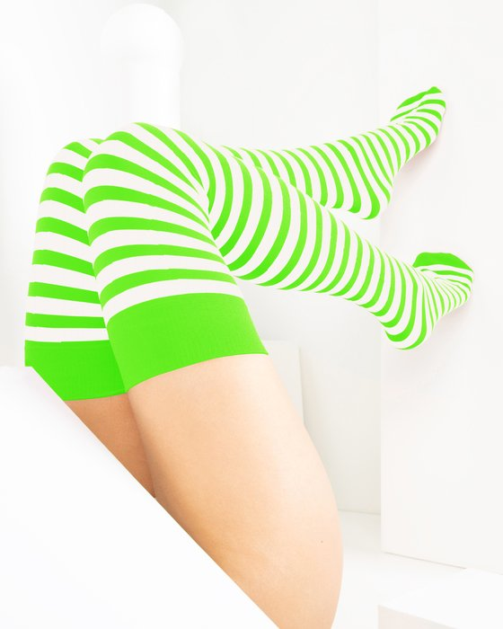 Neon-Green Womens White Striped Thigh Highs Style# 1505 | We Love Colors