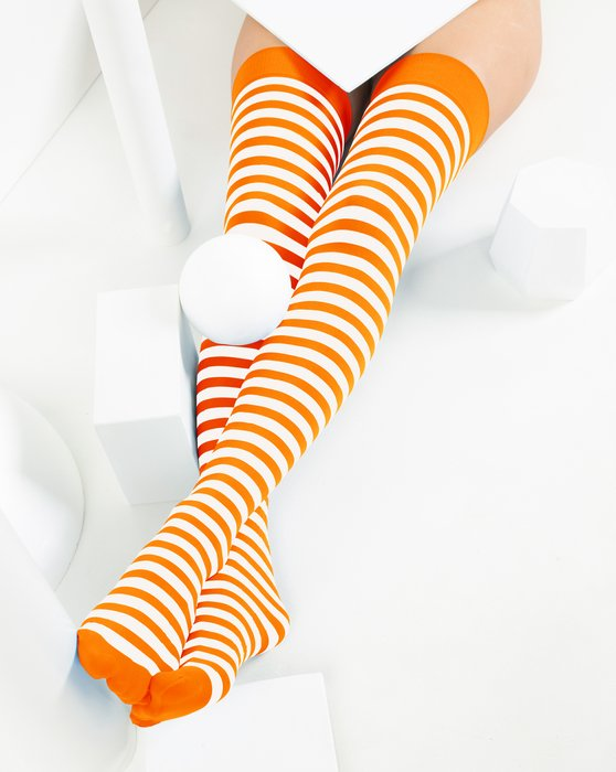 Neon-Orange Womens White Striped Thigh Highs Style# 1505 | We Love Colors