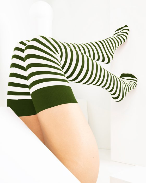 Olive-Green Womens White Striped Thigh Highs Style# 1505 | We Love Colors