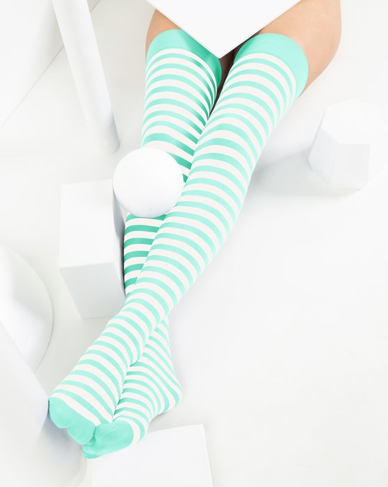Pastel Mint Womens White Striped Thigh Highs Style# 1505 | We Love Colors