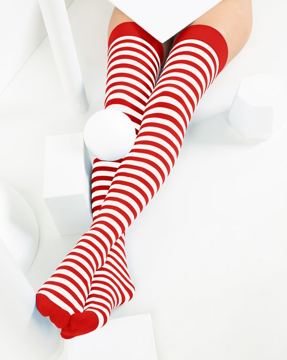 Scarlet-Red Womens White Striped Thigh Highs Style# 1505 | We Love Colors