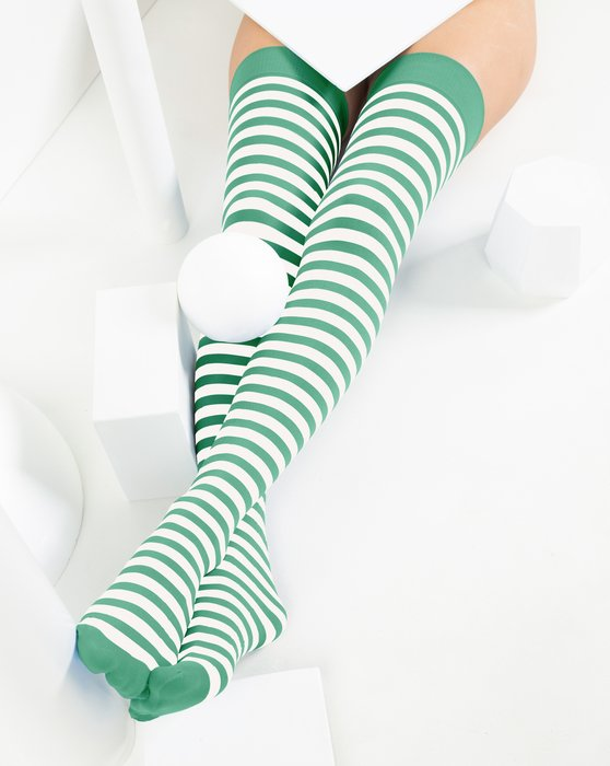 Scout-Green Womens White Striped Thigh Highs Style# 1505 | We Love Colors