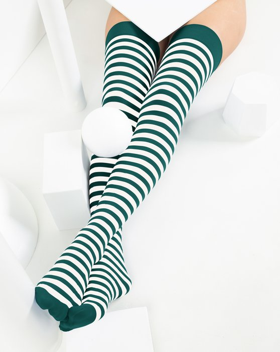 Spruce-Green Womens White Striped Thigh Highs Style# 1505 | We Love Colors