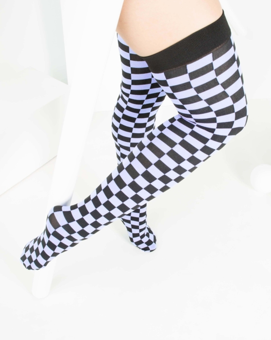Lilac Womens Checkerboard Thigh Highs Style# 1507 | We Love Colors