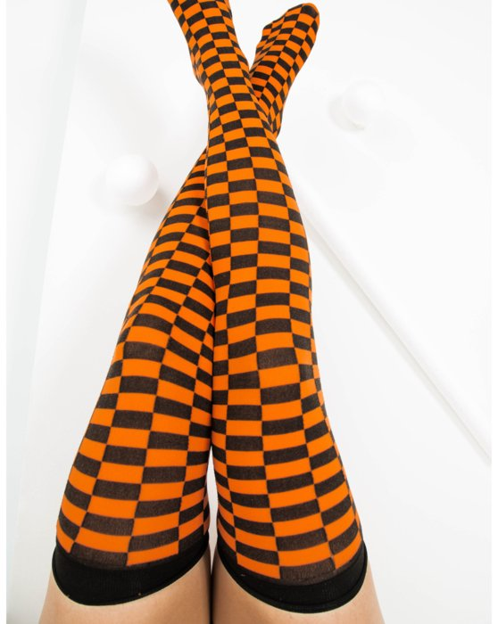 Orange Womens Checkerboard Thigh Highs Style# 1507 | We Love Colors