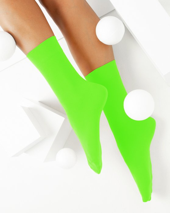 Neon-Green Womens Microfiber Socks Style# 1529 | We Love Colors