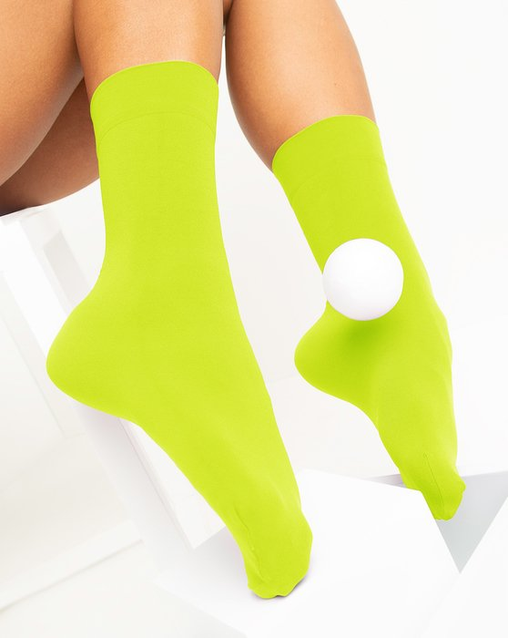 Neon-Yellow Womens Microfiber Socks Style# 1529 | We Love Colors