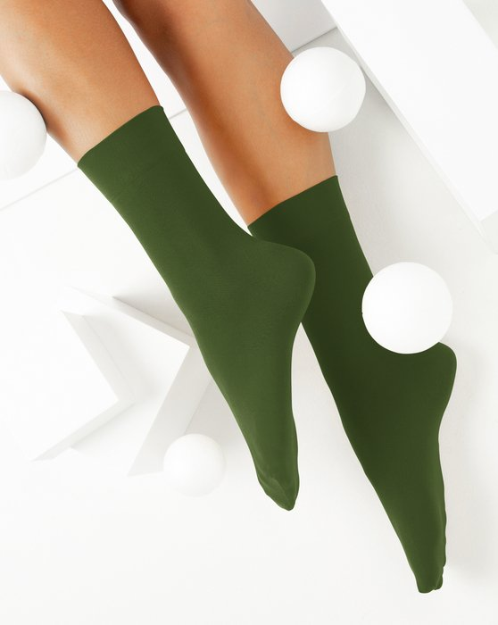 Olive-Green Womens Microfiber Socks Style# 1529 | We Love Colors