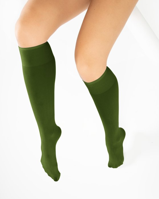 Olive-Green Womens Knee Highs Style# 1532 | We Love Colors
