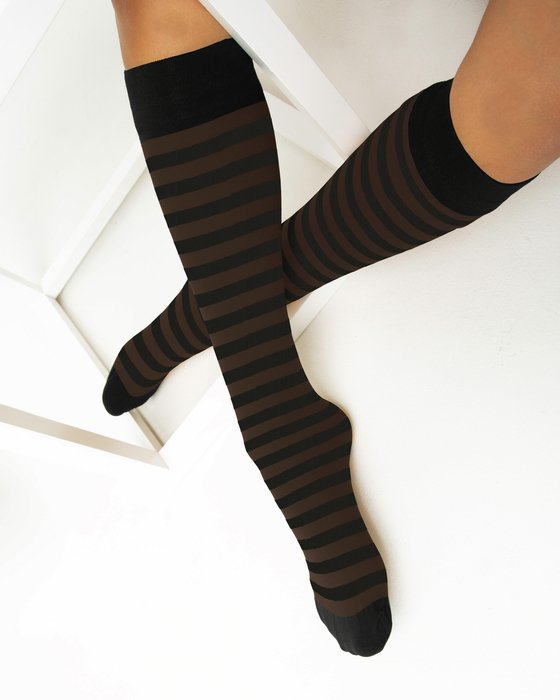Brown Womens Striped Knee Highs Style# 1533 | We Love Colors