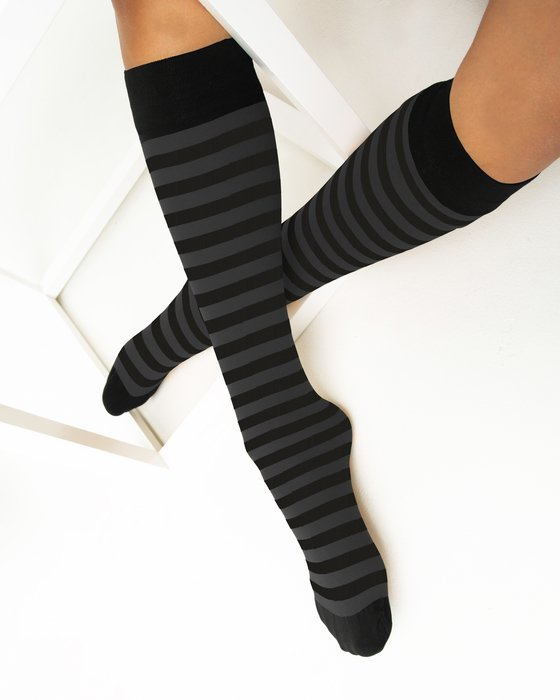 Charcoal Womens Striped Knee Highs Style# 1533 | We Love Colors