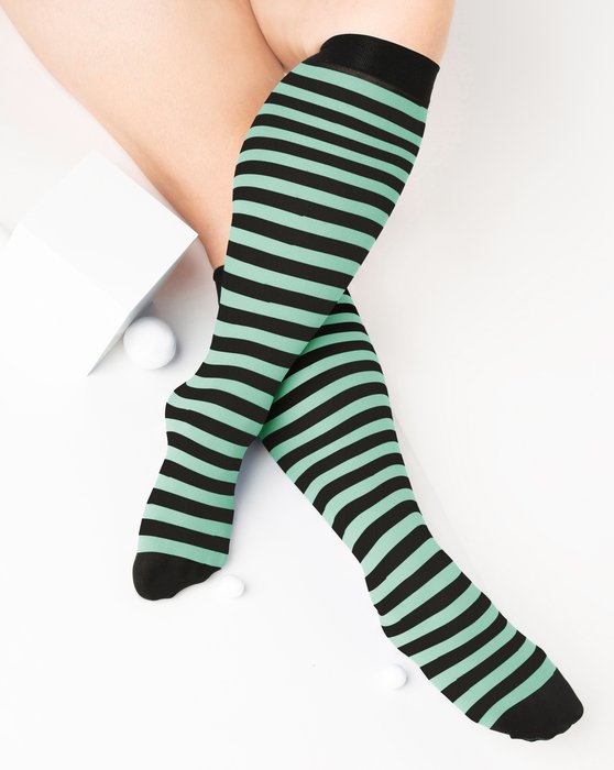 Dusty-Green Womens Striped Knee Highs Style# 1533 | We Love Colors