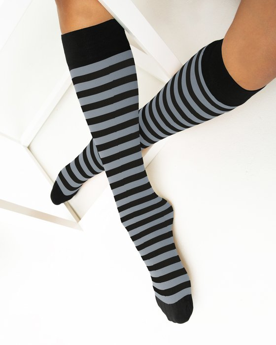 Grey Womens Striped Knee Highs Style# 1533 | We Love Colors
