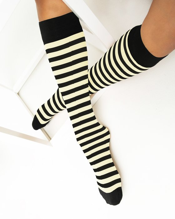 Ivory Womens Striped Knee Highs Style# 1533 | We Love Colors