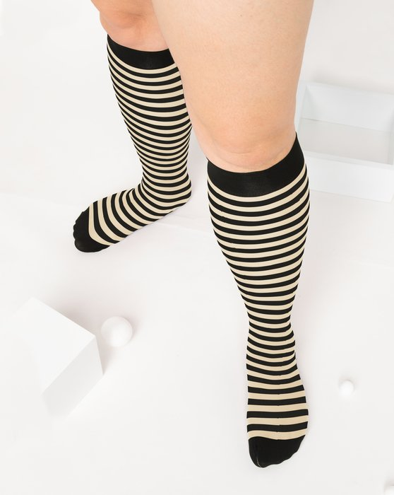 Light-Tan Womens Striped Knee Highs Style# 1533 | We Love Colors