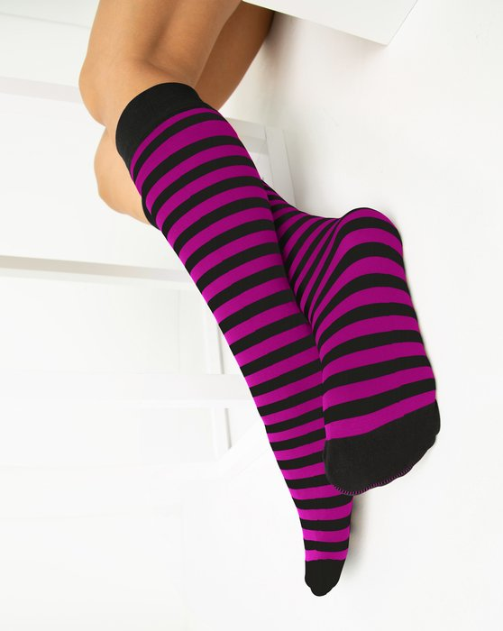Magenta Womens Striped Knee Highs Style# 1533 | We Love Colors