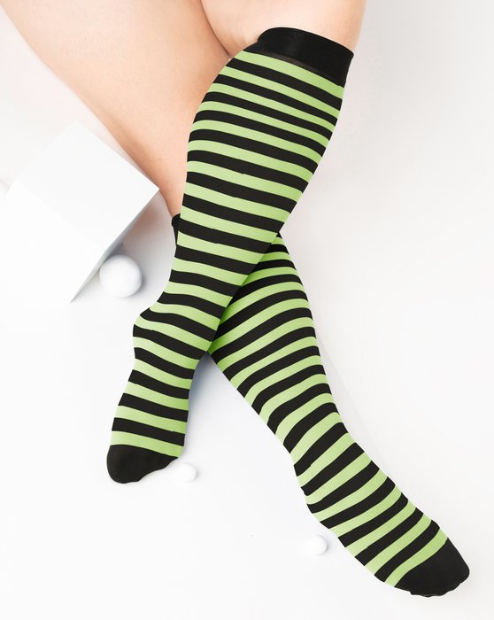 Mint-Green Womens Striped Knee Highs Style# 1533 | We Love Colors