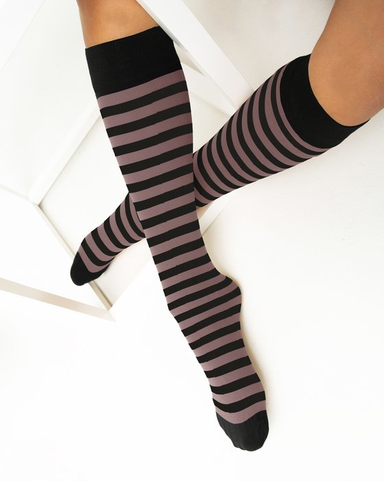 Mocha Womens Striped Knee Highs Style# 1533 | We Love Colors