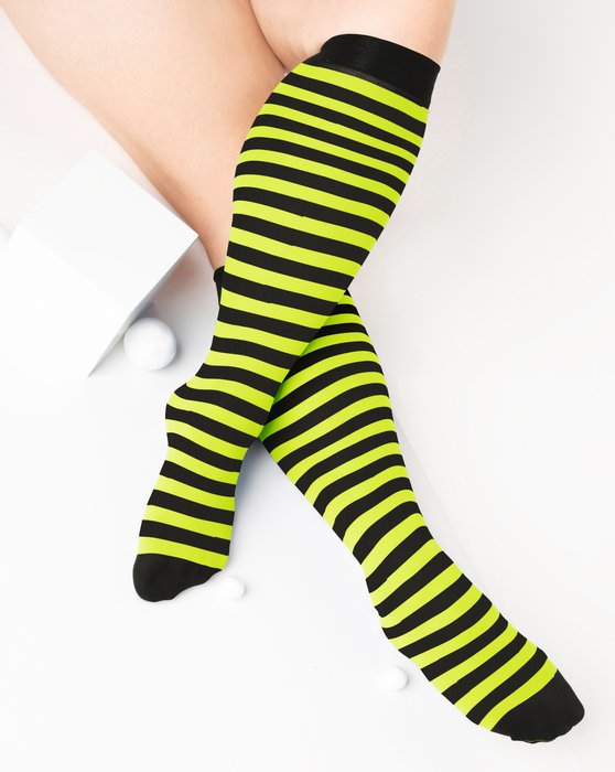 Neon-Yellow Womens Striped Knee Highs Style# 1533 | We Love Colors