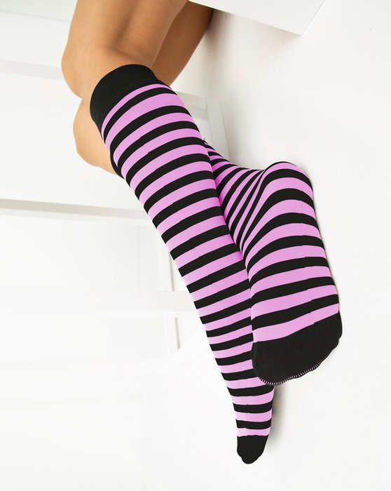 Orchid-Pink Womens Striped Knee Highs Style# 1533 | We Love Colors