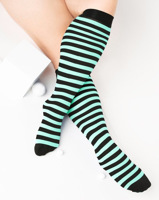 Pastel-Mint Womens Striped Knee Highs Style# 1533 | We Love Colors