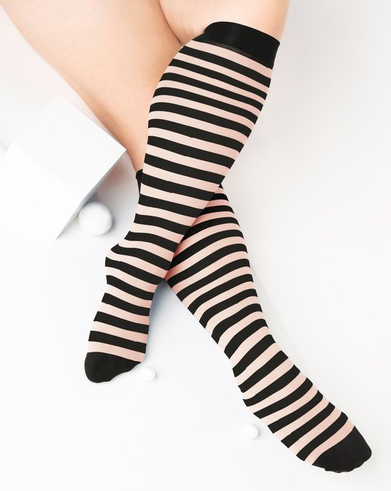 Peach Womens Striped Knee Highs Style# 1533 | We Love Colors