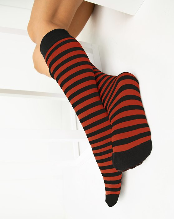 Rust Womens Striped Knee Highs Style# 1533 | We Love Colors