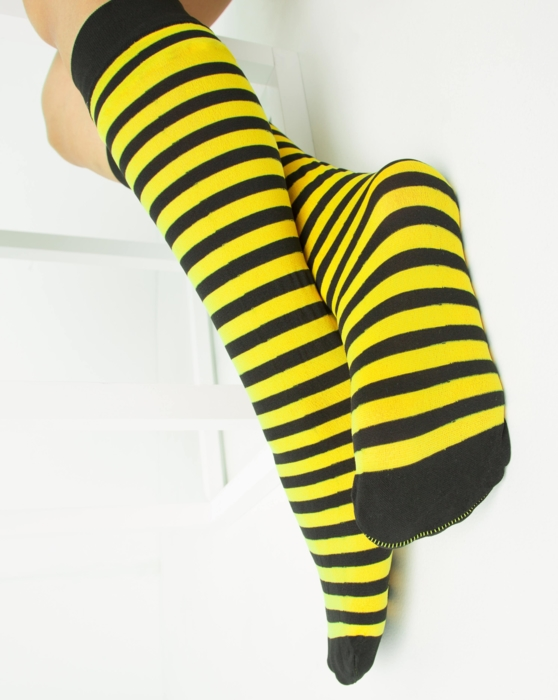 Yellow Womens Striped Knee Highs Style# 1533 | We Love Colors