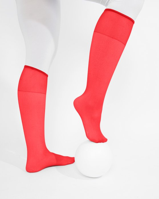 Scarlet Red Womens Sheer Knee Highs Style# 1536 | We Love Colors